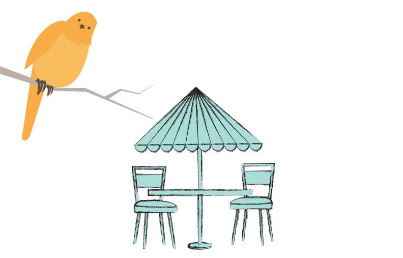 Ett bord med parasoll och en fågel